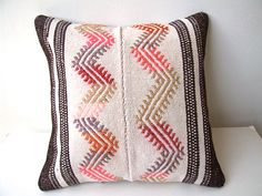 Anatolian - Turkish Rug Pillow Cover - kilim (thanks Lindy for pinning this! just clicked it and visited their etsy shop. Handmade Fabric Bags, Wool Thread, Kilim Rugs, Pillow Covers, Cotton Fabric, Cushions, Etsy Shop, Throw Pillows, Reading Room