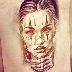 Chicano Tattoos, Chicano Art, Body Art Tattoos, Cool Tattoos, Tattoo Arm Mann, I Tattoo, Female Clown, Female Art, Clown Tattoo