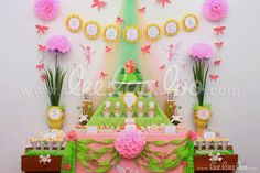 Lovely fairy girl birthday party backdrop and dessert table!  See more party ideas at CatchMyParty.com!