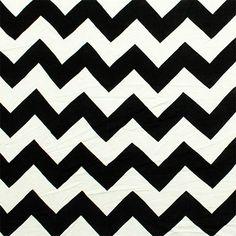 Black and Ecru Chevron Cotton Jersey Blend Knit Fabric :: $6.60