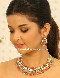 pretty coral diamond necklace and earrings set from Mangatrai Neeraj at lumbini jewel mall in delicate diamond flower and vine design Diamond Earrings Indian, Diamond Necklace Set, Coral Earrings, Coral Jewelry, Jewelry Sets, Diamond Jewelry, Diamond Choker, Gold Necklace, Indian Jewellery Design