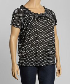 This Black & White Polka Dot Crinkle Tie-Neck Blouson Top - Plus by Allie & Rob is perfect! #zulilyfinds
