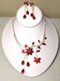 Red Crystal Floral Set ***free ship/no fees***