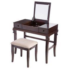 Shop for Linon Ariana Beautification Set - Brown Vanity Table Stool  sc 1 st  Pinterest & Corner Vanity Table Bedroom   Bedroom Vanities   Pinterest   Cheap ...