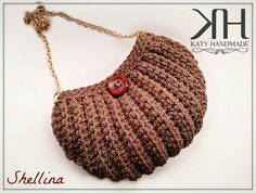 "crochet shell bag - borsa a conchiglia ad uncinetto ""Shellina"" designed by Katy Handmade Diy Canvas, Knitted Bags, Knit Crochet, Crochet Bags, Mini Bag, Cosmetic Bag, Straw Bag, Purses And Bags, Crochet Necklace"