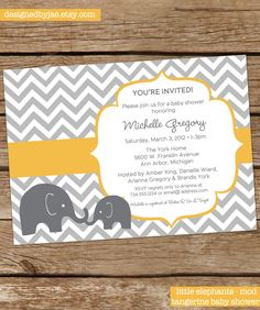Baby Shower Invitation elephants mod Twins Boy by DesignedByJae