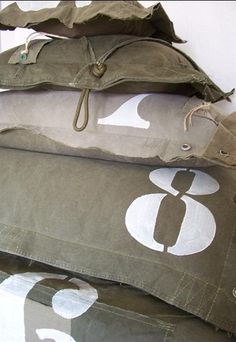 Love these army surplus inspired pillows! Need for my boys room Military Bedroom, Army Decor, Army Surplus, Home And Deco, Boy Room, Boys Army Room, Letters And Numbers, Kidsroom, My New Room