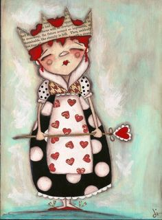 """""""Queen of Hearts"""" dans Alice au Pays desmerveilles, dessin de Diane Duda, artiste américaine."""