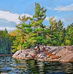 Acrylic on Gallery Canvas Lake Painting, Painting Trees, Algonquin Park, Landscape Paintings, Landscapes, Canvas Paintings, Little Island, Acrylic Canvas, Lake Superior