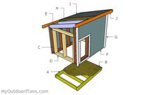 Dog House Plans for Large Dog Large Dog House Plans, Build A Dog House, Wood Shed Plans, Diy Shed Plans, Cool Dog Houses, Play Houses, Woodworking Plans, Woodworking Projects, Insulated Dog House