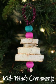 Make these adorable natural wood Christmas tree ornaments with your little ones and inject some whimsy into your decor this holiday season!