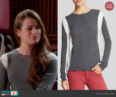 Rachel's grey and white colorblock sweater on Glee. Outfit Details: http://wornontv.net/46504/ #Glee