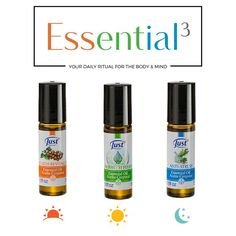 For every part of your day. Essential 3 Energized, relieved, relaxed! Pure Essential Oils, Natural, Just In Case, Herbalism, Essentials, Personal Care, Pure Products, Licence Plates, Mariana