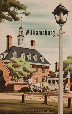 1950s Williamsburg, American vintage travel poster