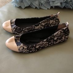 Host Pick 10/18/15 Gorgeous Lace Flats Gorgeous J.Crew Lace Ballet Flats. Size 7. One toe has a scratch on leather but looks more like a crease when wearing and a few little scratches on other toe but cant see unless you look very hard. Black lace over cream or light tan color. Worn once and in great shape. Firm on price. J. Crew Shoes Flats & Loafers