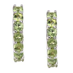 @Overstock - These clip-in earrings sparkle with round-cut peridots. This jewelry piece is made of sterling silver and features a highly polished finish.http://www.overstock.com/Jewelry-Watches/Sterling-Silver-Peridot-Hoop-Earrings/5158329/product.html?CID=214117 $29.49