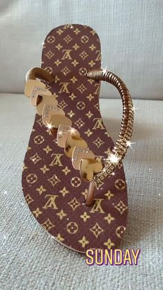 Bling Sandals, Glitter Sandals, Beaded Sandals, Fashion Slippers, Fashion Sandals, Louis Vuitton Accessories, Louis Vuitton Shoes, Business Casual Attire For Men, Designer Flip Flops