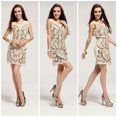 Vestido Bordado, com decote redondo, alças médias e detalhe de aplicação de paetês. www.luxusbyluxus.com