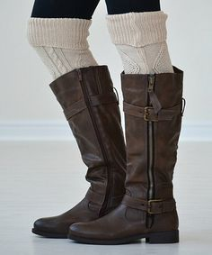 Oatmeal Cozette Over-the-Knee Socks by PeekABootSocks