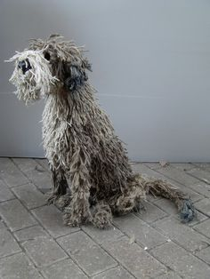 Ropey Dog Sculpture IiI by Dominic Gubb at Stockbridge Gallery Textile Sculpture, Dog Sculpture, Animal Sculptures, Textile Art, Sculpture Ideas, Metal Sculptures, Felt Dogs, Felt Cat, Paper Mache Crafts