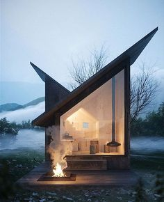 I love how the lines of the roof meet to make a house shape inside. Carpineto Mountain Refuge near Italy, concept design by Architect Massimo Gnocchi Tiny House Cabin, Tiny House Living, Cozy House, Cozy Cabin, Casas Containers, Cabin In The Woods, Exterior Design, Roof Design, Sauna Design