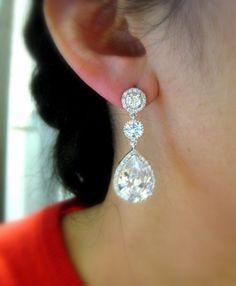 Earring idea - Etsy $54  Bridal earrings wedding earrings bridal jewelry wedding jewelry clear white teardrop cubic zirconia round cz post
