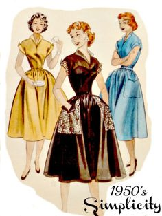 Vintage 50s Butterick 6820 Pattern Misses One Piece Dress with Full Skirt Winged Collar Cuffed Short Sleeves Size 12 Bust 30 p2z