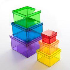 Nesting storage boxes.