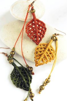 earrings Micro macrame earrings Autumn leaves boho by DancingDakiniWear Macrame Colar, Macrame Necklace, Macrame Jewelry, Macrame Bracelets, Boho Jewelry, Jewelry Crafts, Loom Bracelets, Boho Earrings, Friendship Bracelets