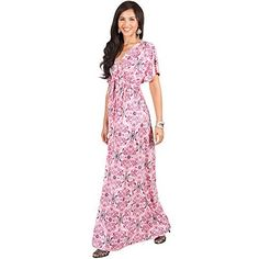 KOH KOH Womens Long Kimono V-Neck Sexy Short Sleeve Printed Spring Summer Flowy Sundress Cute Casual Evening Damask Print Party Gown Gowns Maxi Dress Dresses, Pink and White M Maxi Dress With Sleeves, V Neck Dress, Long Kimono, Floral Midi Dress, Party Gowns, Lovely Dresses, Summer Dresses, Maxi Dresses, Casual