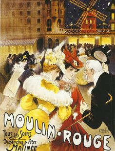 Antique French advertising poster ladies gentlemen by FolieduJour
