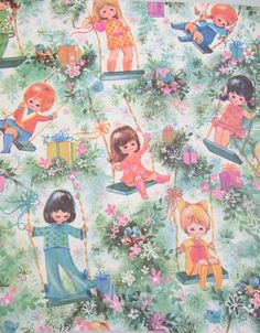 Vintage Gift Wrapping Paper by Pleasant Thought, Birthday Girl, 2-Sheets - pinned by pin4etsy.com