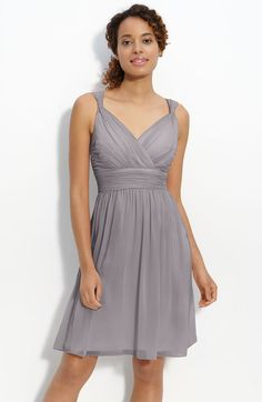 Donna Morgan Ruched Chiffon Dress in Gray (sterling grey) Would love in tiffany blue