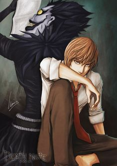 None other than Light Yagami and Ryuk from Death Note. Done in Photoshop Dynamic Duo Anime Echii, Anime Nerd, Shinigami, Amane Misa, Death Note Fanart, Death Note Light, Best Animes Ever, Nate River, Light Yagami