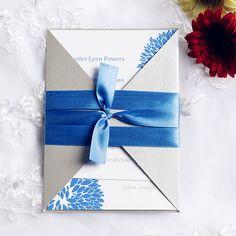 blue and gray hydrangea pocket wedding invitations EWPI097 as low as $1.69