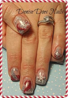 Christmas Nails- red and silver swirls #nailart