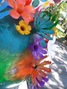 Flowers made from plastic soda bottles. Peace Parade Dove, San Jose, Costa Rica, one of 70 doves. I took picture 2/15/2011.