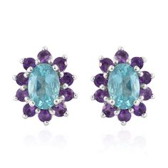 Mint Apatite, Amethyst Platinum Over Sterling Silver Stud Earrings TGW 1.890 Cts. | cluster | earrings | jewelry | online-store | Shop LC