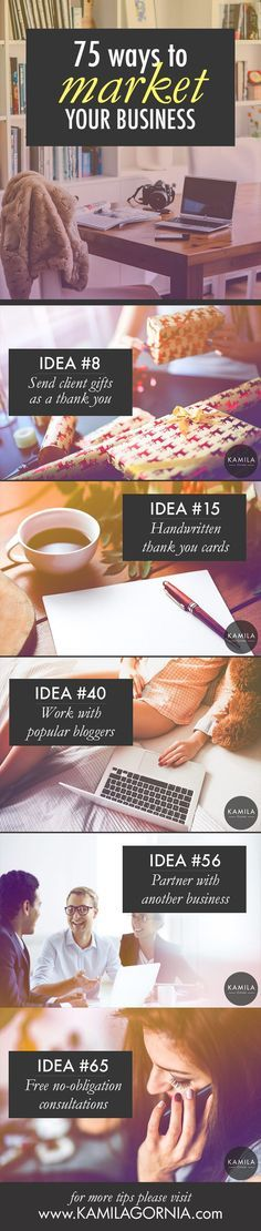How to market your business. 75 marketing ideas for a small business on a budget. Great ideas for private practice