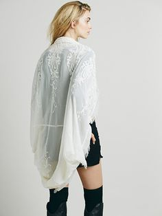 Free People White Embroidered Kimono at Free People Clothing Boutique