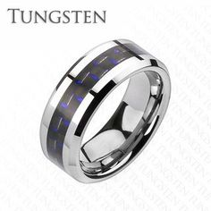 Executive Blue - Tungsten Carbide Comfort Fit Ring with Carbon Fiber Blue Inlay. #BuyBlueSteel #Jewelry