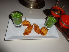 Selection of canapées (spinach soup, fried potato with cheese, puff pastry with vegetables) @ Restaurant maison mk