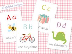 "Free printable French alphabet flash cards (g is for ""gratuit!"")"