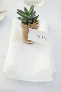 Terranea Wedding Ideas: Succulent Wedding Favors #socal #wedding