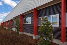 Architecture, Design, Modern, Commercial, Ambulance, Ambulance Station, Ambulance Victoria, Grey, Red, Belmont, Colorbond, Concrete