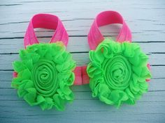 Baby Barefoot Sandals..Lime Daisy..Toddler Sandals..Newborn Sandals. $6.50, via Etsy.