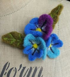 Needle Felted Floral Flower Brooch Corsage Pin by SewRecycled