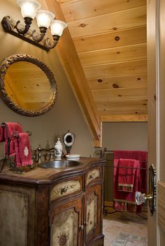 Timber frame bathroom....rustic and campy feel!