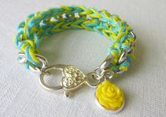 Children's Yellow & Teal crochet chain by Foreverafterbeading, $12.50