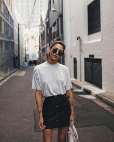 @kamplainnn ❃ spring summer style fashion outfit jean button skirt black tshirt                                                                                                                                                                                 More